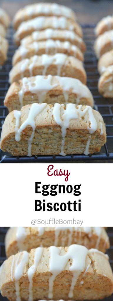 Easy Eggnog Biscotti with Whiskey-Eggnog Glaze #SafeNog