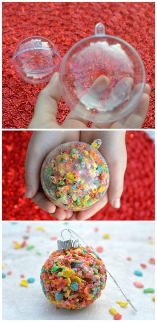 Fruity Pebbles Edible Christmas Ornaments