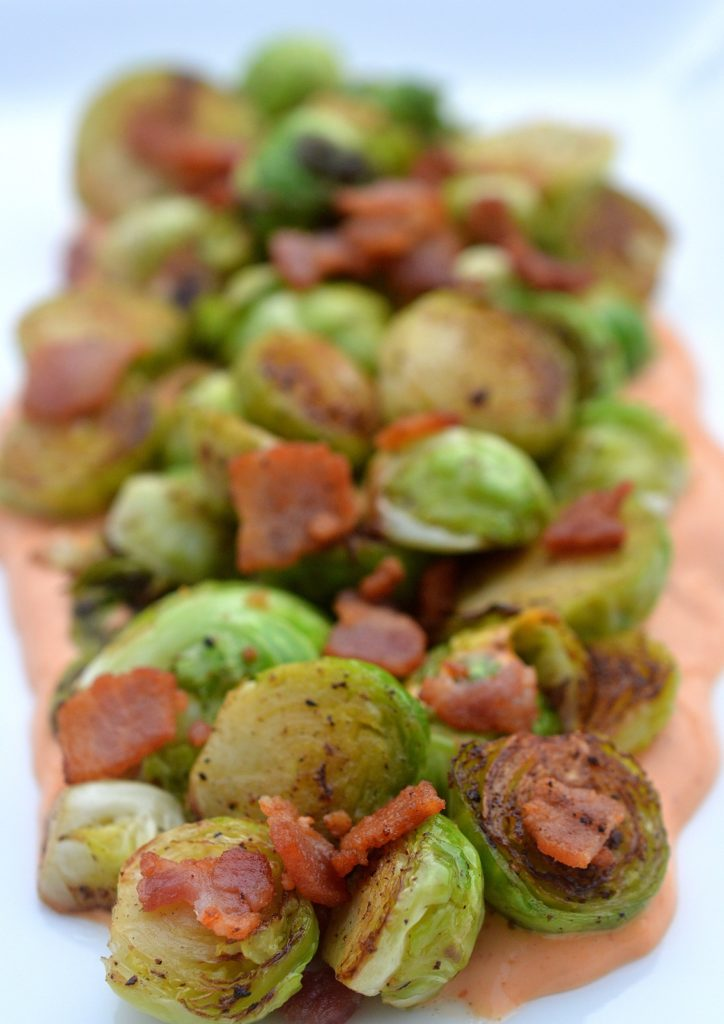 Brussells Sprouts Bacon & Sriracha Cream