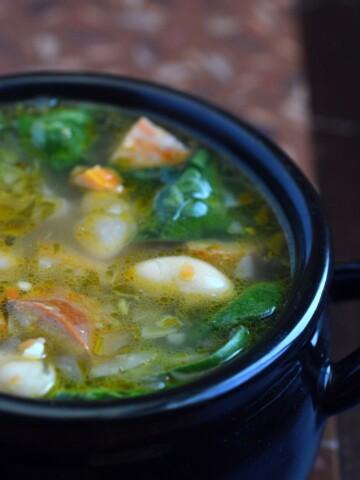 White Bean Chorizo & Spinach Soup