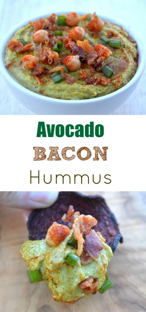 Avocado Hummus with Bacon, a delicious variation on the traditional packed with potassium, vitamin c and nutrients oh and BACON!!