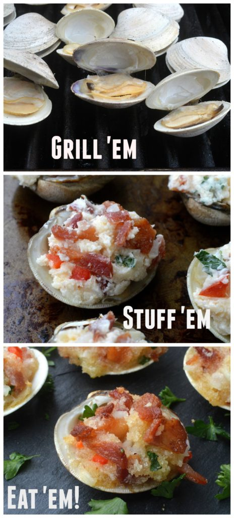 Stuffed Clams wit BACON! Easy made on the grill, always a party favorite!