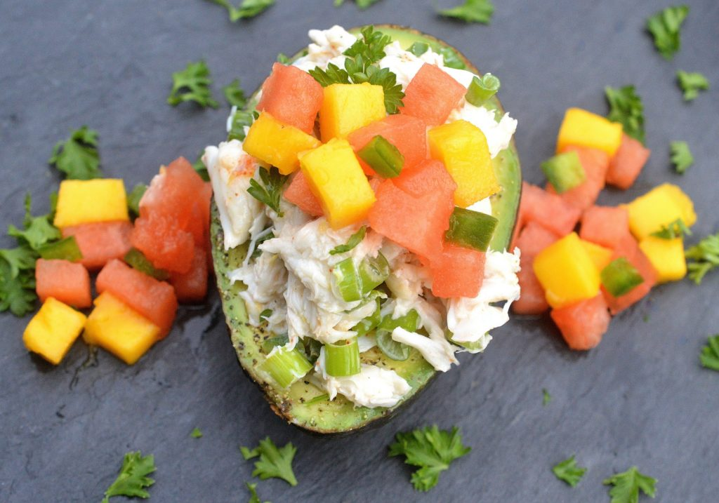 Crab Stuffed Avocados with Watermelon Mango Salsa