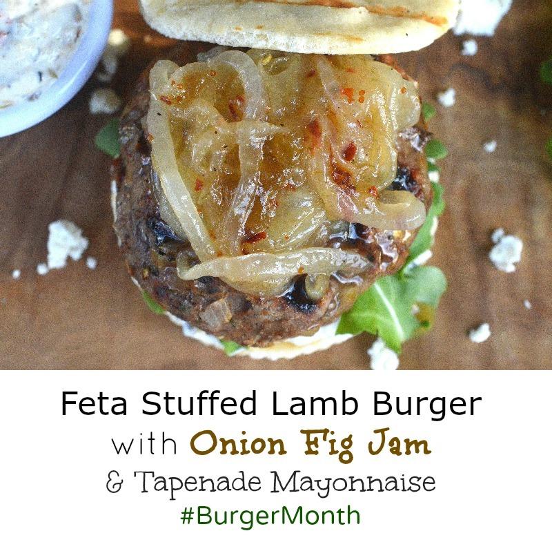 Feta Stuffed Lamb Burger with Onion Fig Jam #BurgerMonth