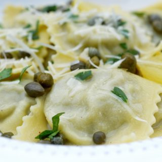 Spinach & Cheese Ravioli With Francaise Sauce