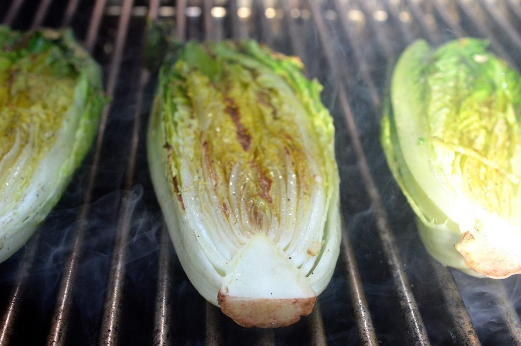 Grilling Romaine for Grilled Caesar Salad