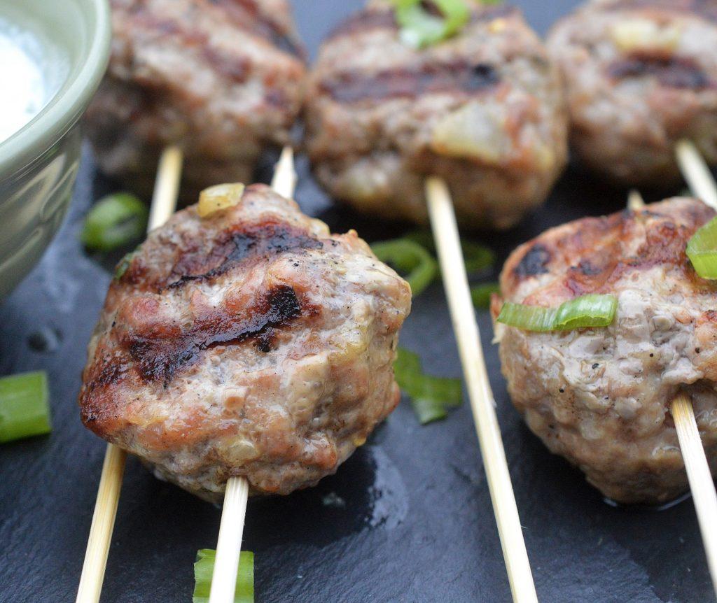 Grilled Greek Lamb Meatballs with Tzatziki Sauce, so good!