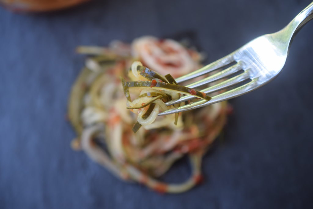 Yum! Ready in just a few hours, these Spicy Spiralized Pickled Cucumbers are addictively delicious and can go with so many things! Makes a great hostess gift too!