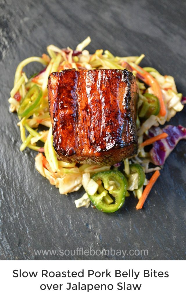 Slow Roasted Pork Belly Bites over Jalapeno Slaw