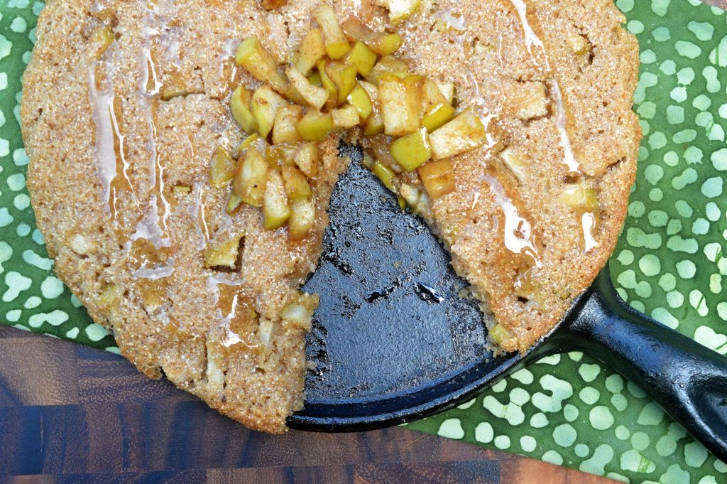 Apple Skillet Cookie made with fresh ground whole wheat flour. How To Grind your own Flour