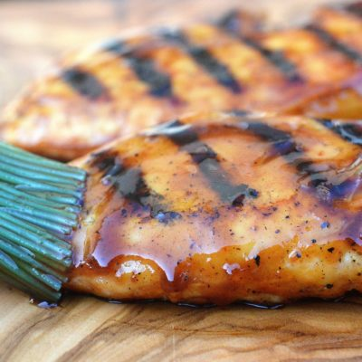 Grilled Honey Bourbon BBQ Chicken. Just 3 ingredients for the sauce and it's GOOD!!