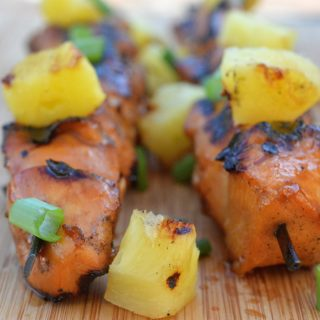 Hawaiian Chicken Skewers from Souffle Bombay. Great for a crowd!