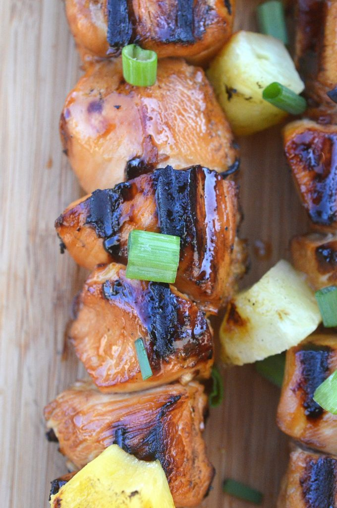 Hawaiian Chicken Skewers on the Grill