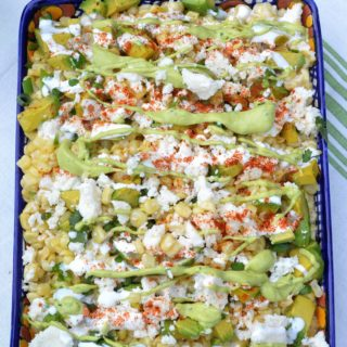 Mexican Street Corn Salad feautring avocados Cojita cheese, Mexican table cream & a Spicy Creamy Guacamole Dip Drizzle