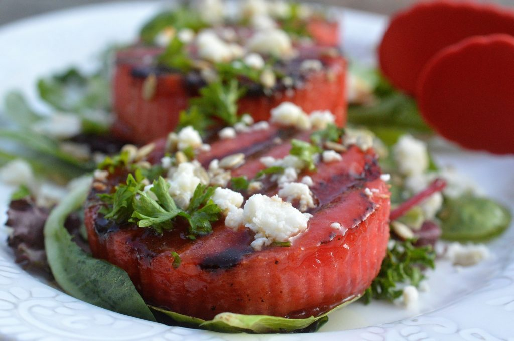 Sweet & Spicy Rubbed & Grilled Watermelon Salad with Honey Lime Vinagarette
