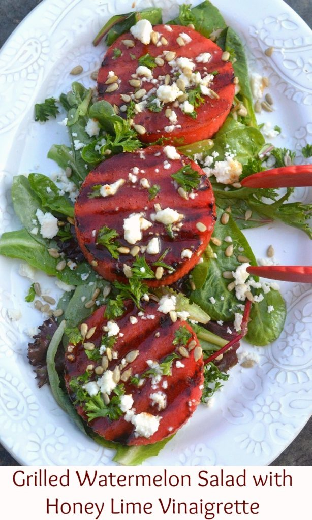 Grilled Watermelon Salad with Honey Lime Vinaigrette