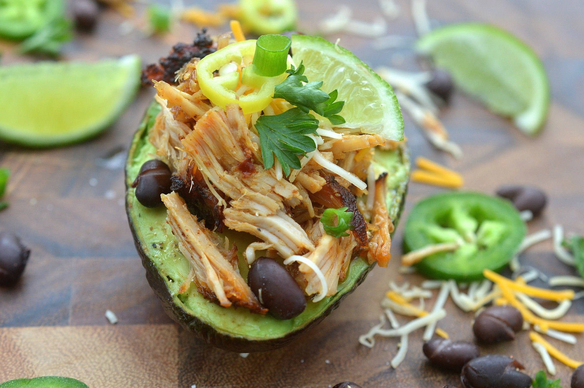 Loaded Pulled Pork Stuffed Avocados