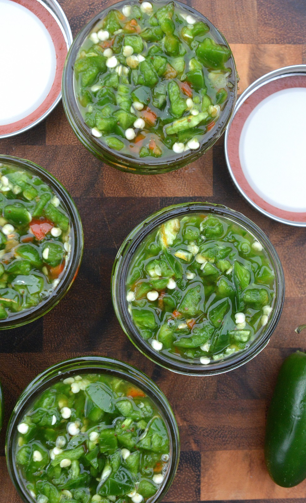 Jalapeno Relish made by quick pickling, ready overnight and lasts for weeks. Makes a great food gift!