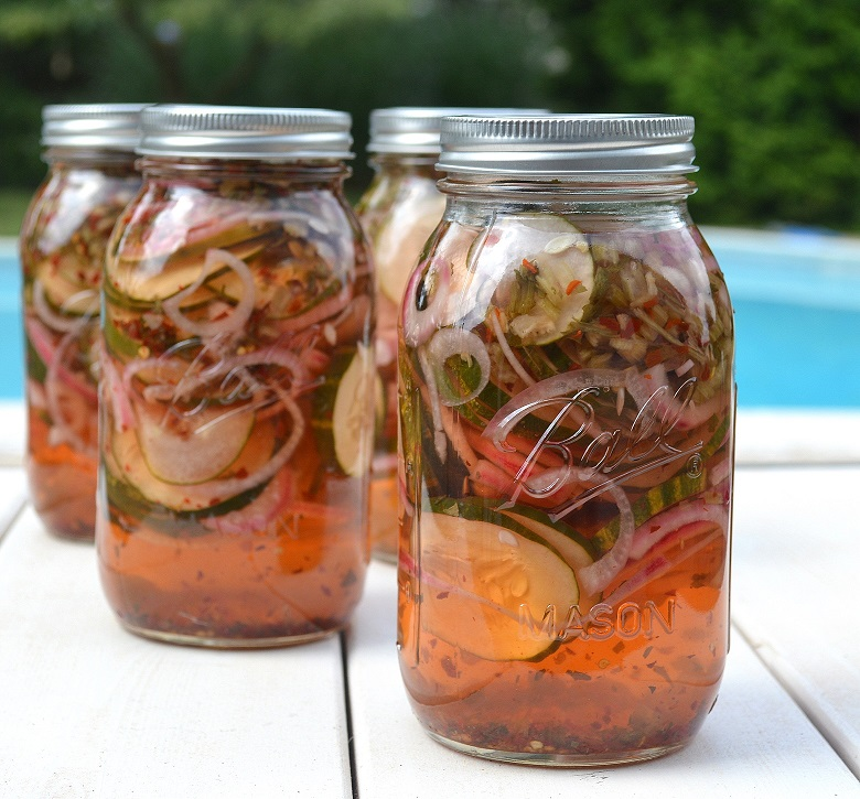Sweet and Spicy Pickled Cucumbers