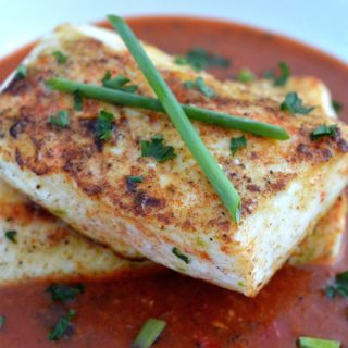 Pan Seared Halibut in Thai Curry Sauce