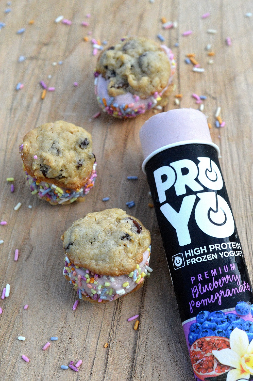 Mini Frozen Yogurt Cookie Sandwiches...Loaded with protein!