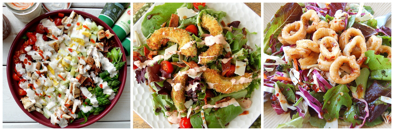 My 3 Favorite Salads - Cobb Salad with Sriracha Ranch Dressing, Crispy Avocado Salad with Bacon & Tomatoes and Crispy Calamari Asian Salad