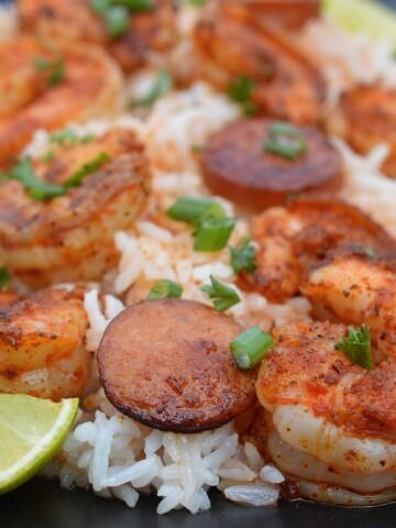 One Pot Cajun Shrimp & Sausage Over Rice