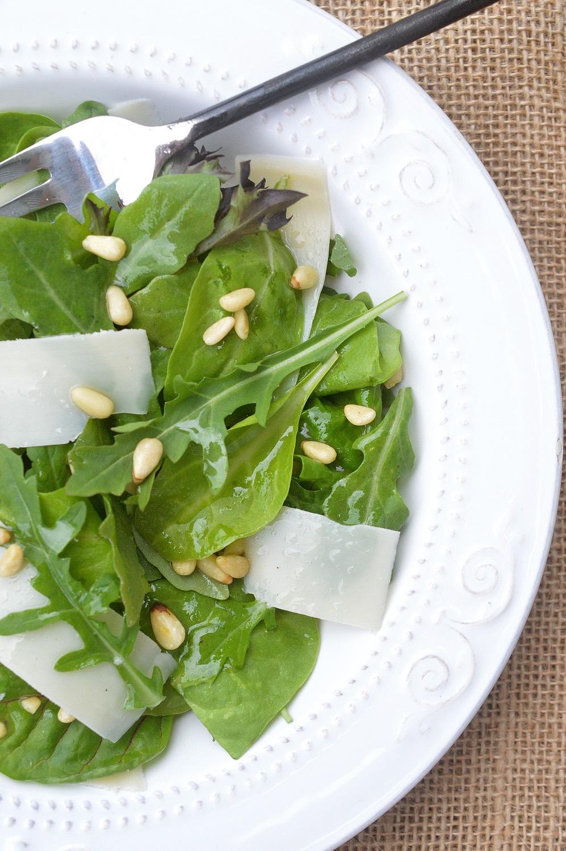 Arugula & Parmesan Cheese Salad with Toasted Pine Nuts and Lemon Vinaigrette
