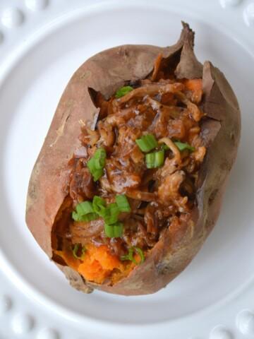 Pulled Pork Stuffed Sweet Potato. SO good together!