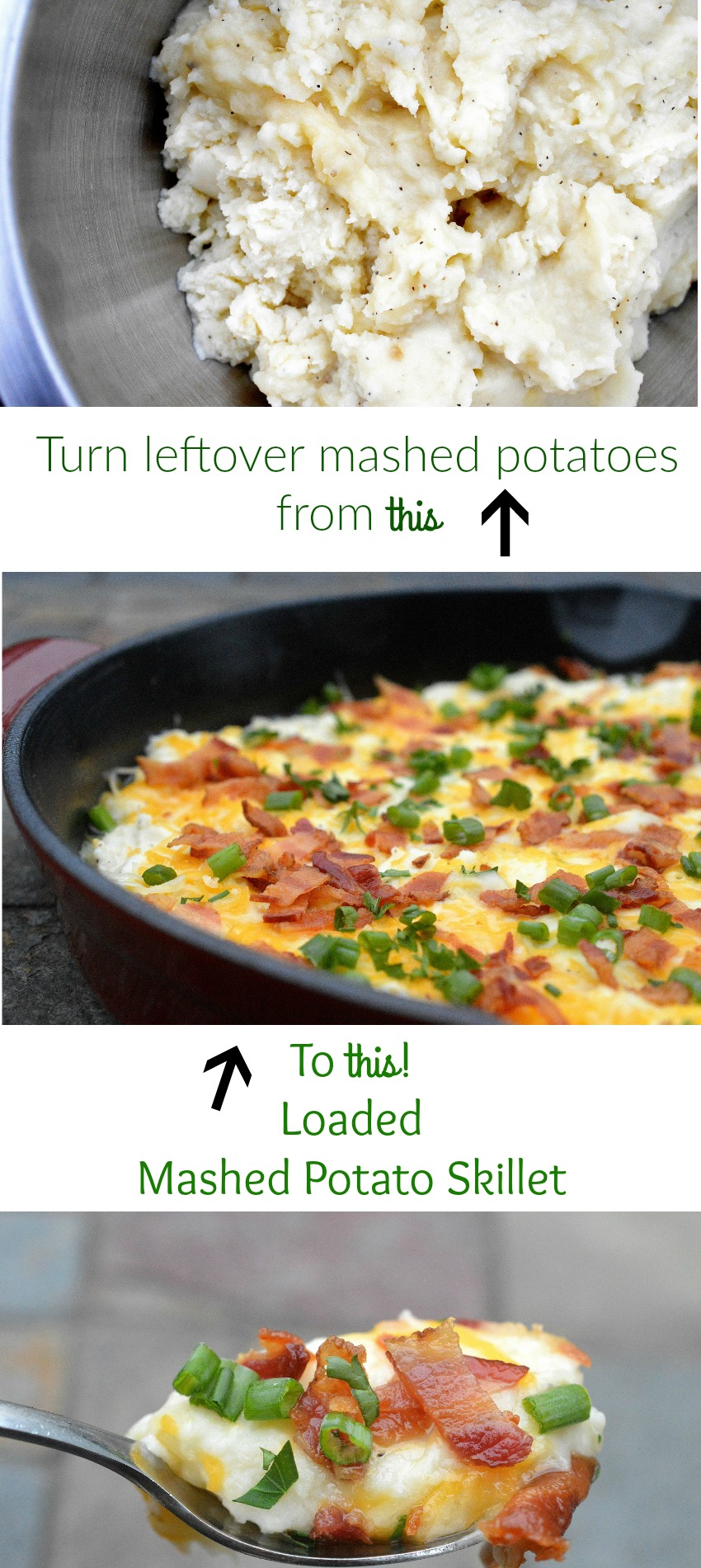 Loaded Mashed Potato Skillet - The BEST use for leftover mashed potatoes!
