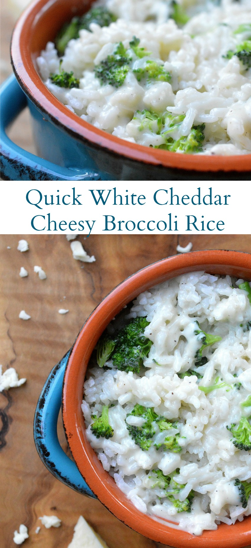 White Cheddar Cheesy Broccoli Rice. Made in 20 minutes are less and a family favorite!