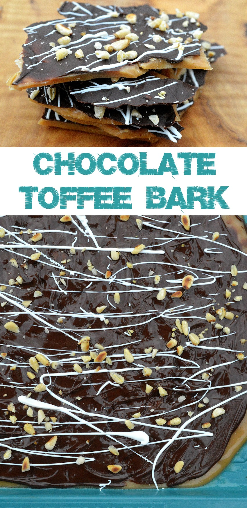 Chocolate Toffee Bark makes a great food gift or addition to a cookie tray!
