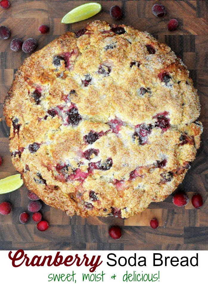 Cranberry Soda Bread comes together quick, is moist and sweet and makes a festive offering (or food gift) this holiday season.