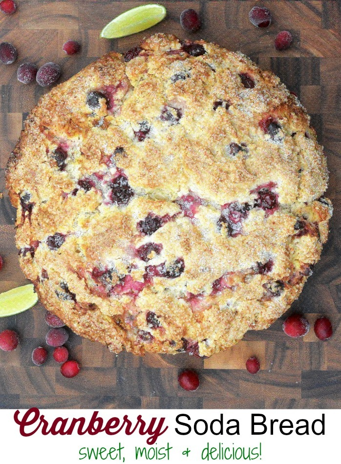 Cranberry Soda Bread is pretty and festive. It is sweet and moist and perfect for gift giving, breakfast or brunch!