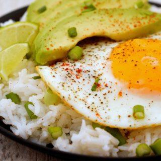 Fried Egg & Avocado Rice Bowl for Breakfast Lunch or Dinner