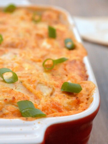 Cheesy Chicken Taco Dip...A handful of ingredients delivers warm deliciousness!