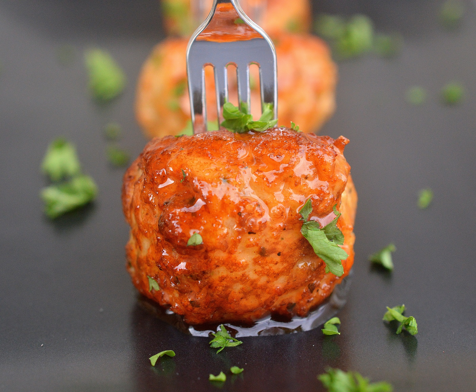 Honey Sriracha Mini Chicken Meatballs (Dairy Free)