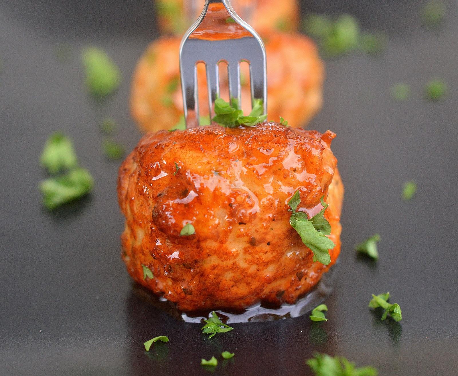 Honey Sriracha Mini Chicken Meatballs (Dairy Free)
