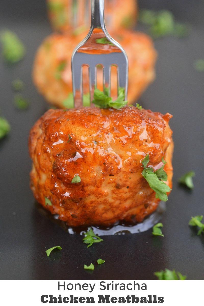Honey Sriracha Chicken Meatballs - Mini (Dairy Fre) Chicken Meatballs glazed in Honey Sriracha! Moist & full of flavor!