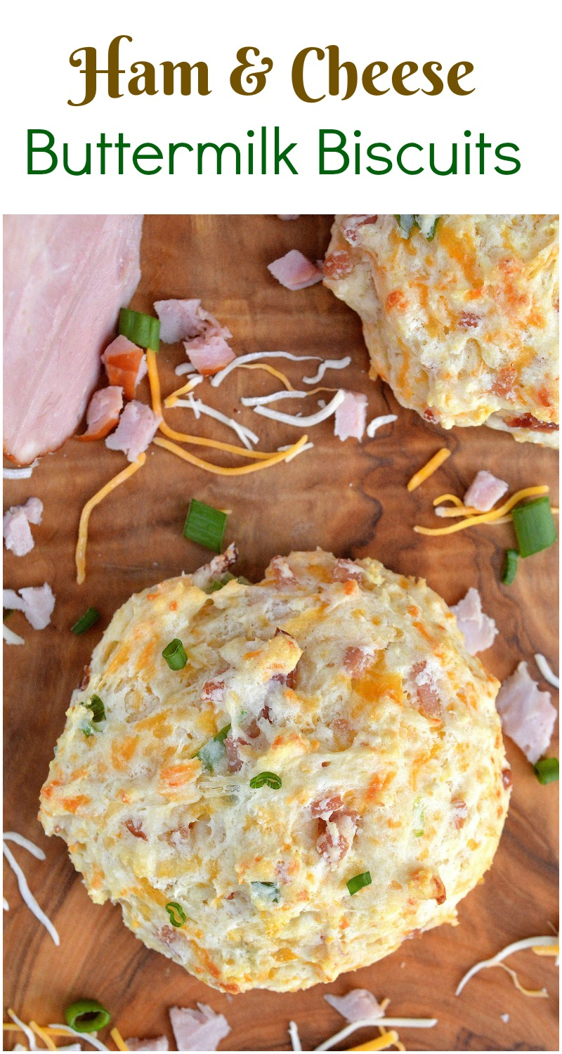 Ham & Cheese Buttermilk Biscuits - A delicious way to use up leftover ham!