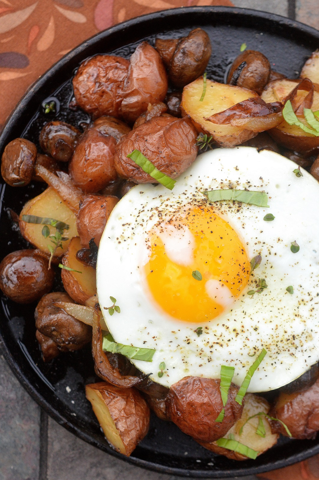 Potato Onion Mushroom and Egg Breakfast Hash