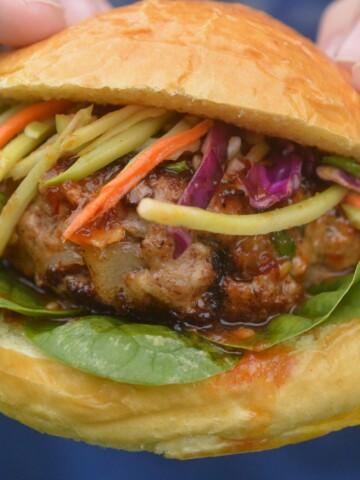 Asian Pork Burger on a bun with slaw