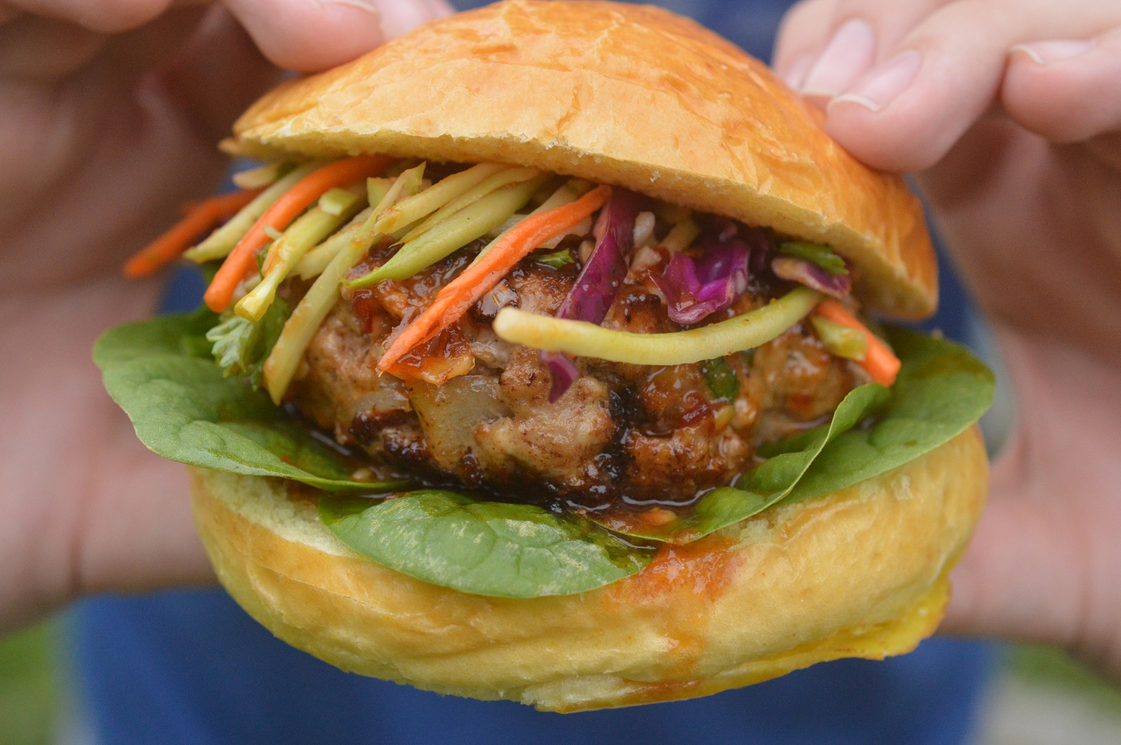 Delicious Asian Pork Burger with Ginger Honey Glaze