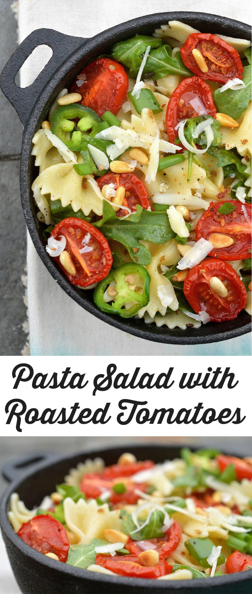 Delicious & Easy pasta Salad with Roasted Tomatoes Parmesan Cheese Pine Nuts Arugula & Jalapenos in a garlic oil....Mmmm!
