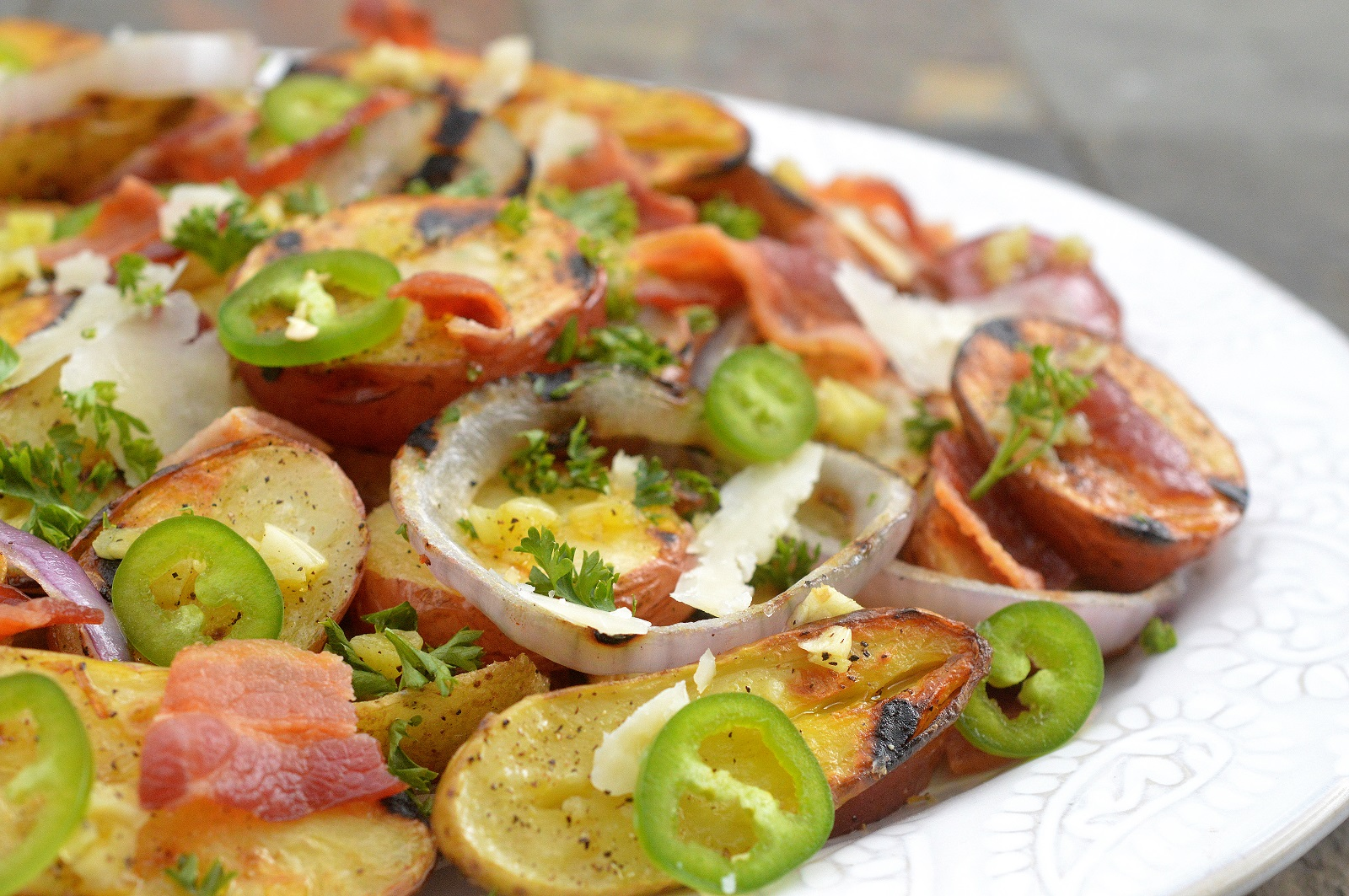 Grilled Potato Salad with Bacon & Jalapenos