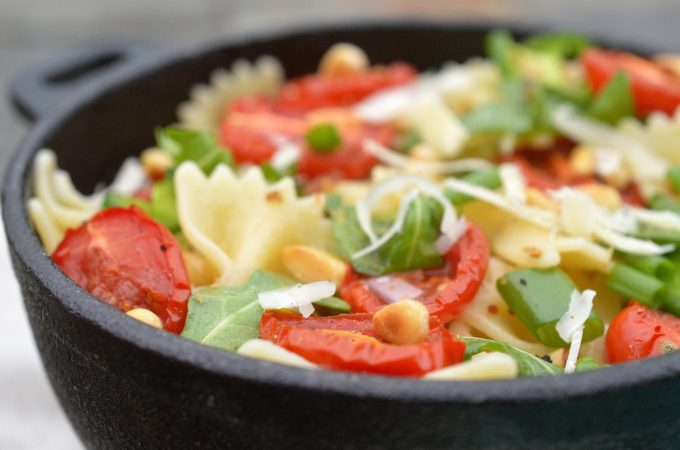 Pasta Salad with Roasted Tomatoes , Parmesan Cheese and Pine Nuts