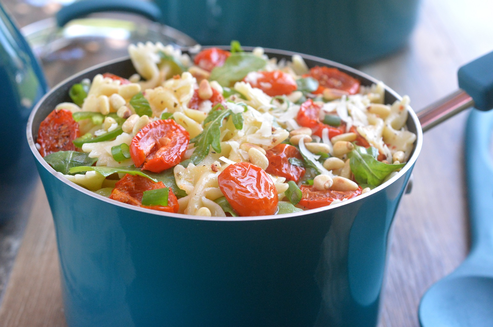 Pasta Salad with Roasted Tomatoes and Pine Nuts in Rachael Ray Marine Blue Cookware