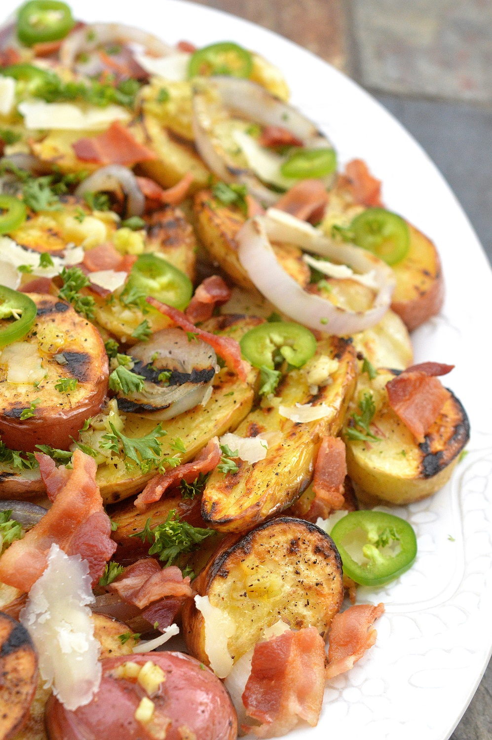 Grilled Potato Salad with Bacon and Jalapenos