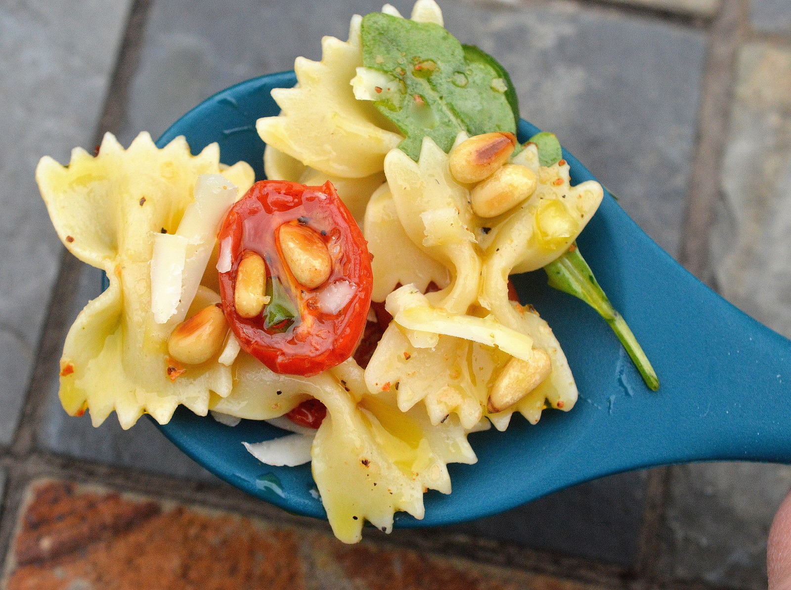 Summer Pasta Salad with Roasted Tomatoes and Pine Nuts in a Garlic Oil...Yummmm!