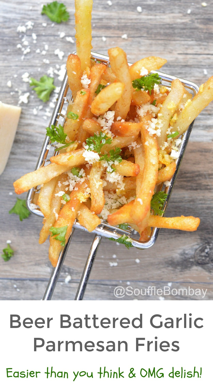 Beer Battered Garlic Parmesan Fries, made easy by starting with frozen fries, these babies are seriously delish!